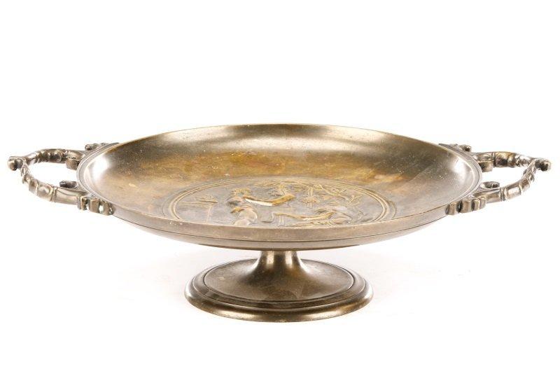 After Ferdinand Levillian, Figural Bronze Tazza