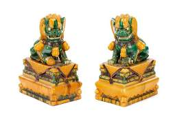 Pair of 24 Chinese Sancai Glazed Pottery Foo Dogs