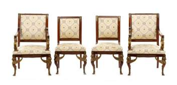 Set of 4 Empire Style Gilt Bronze Mounted Chairs