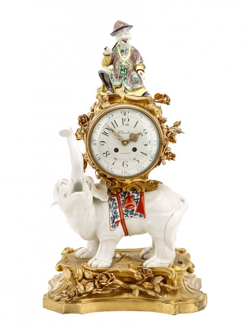After Balthazard Porcelain & Gilt Figural Clock