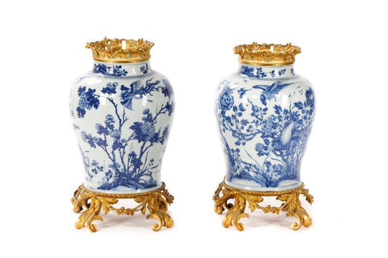 Pair Of Large Chinese Porcelain, Gilt Bronze Vases