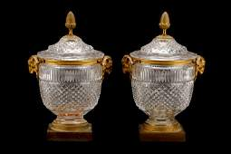 French Gilt Bronze & Crystal Covered Jars