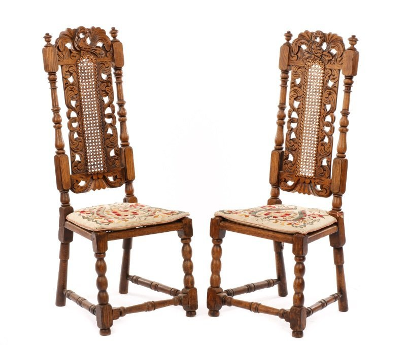 Pair of Jacobean Style Children's Oak Chairs