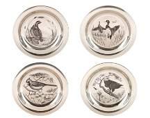 Set of 4 Franklin Mint Sterling Bird Plates