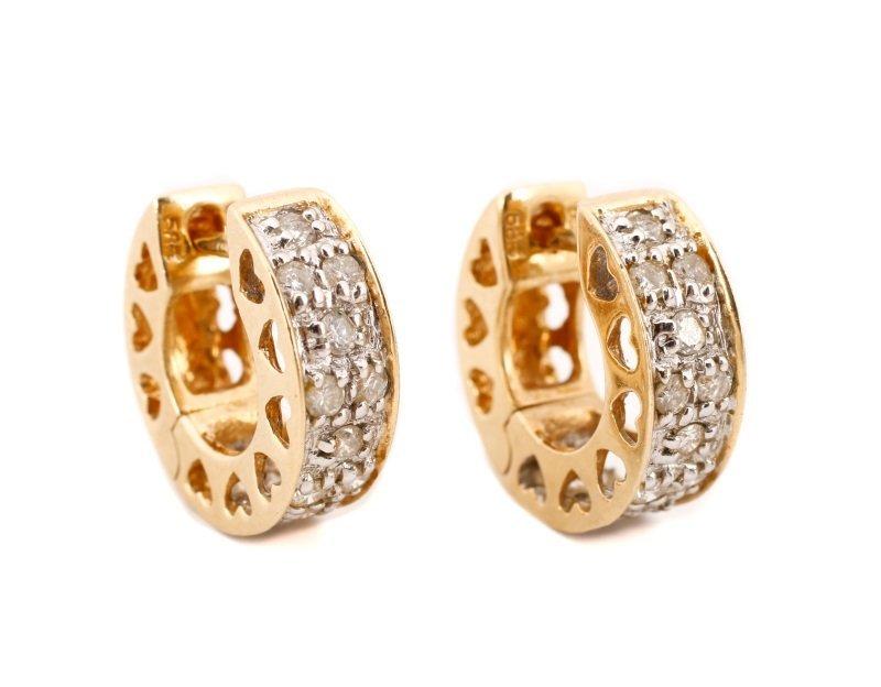 14k Yellow Gold * Diamond Huggie Earrings
