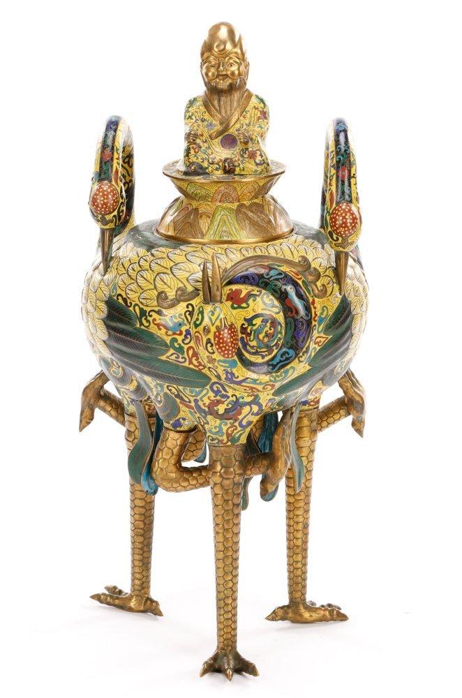 Impressive Qing Triple Crane Cloisonne Censer