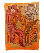 Hand Woven Cubist Style Figural Rug or Tapestry
