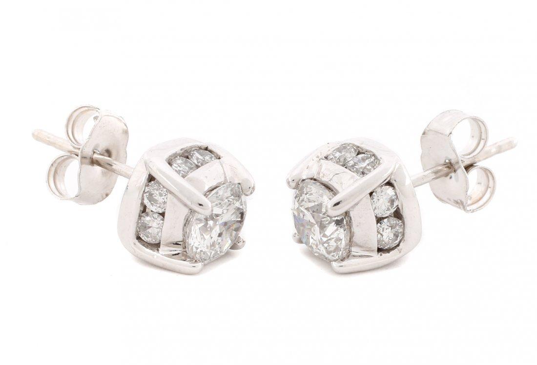 Classic 14k White Gold & Diamond Stud Earrings