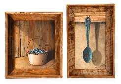 Pair of Signed Rustic Trompe-l'eoil Oil Paintings