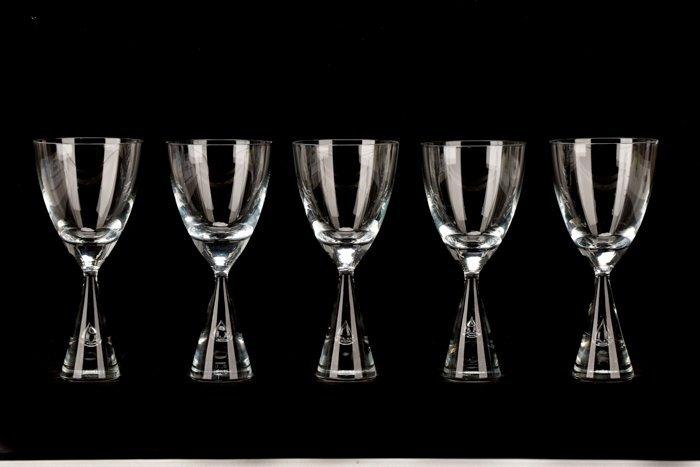 Set of 10 Holmegaard Princess Wine Glasses, Signed