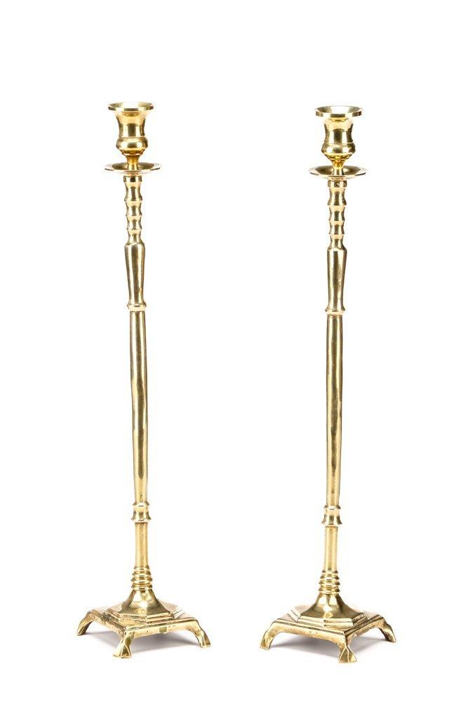 Pair of Fine 18th C Brass Candlesticks