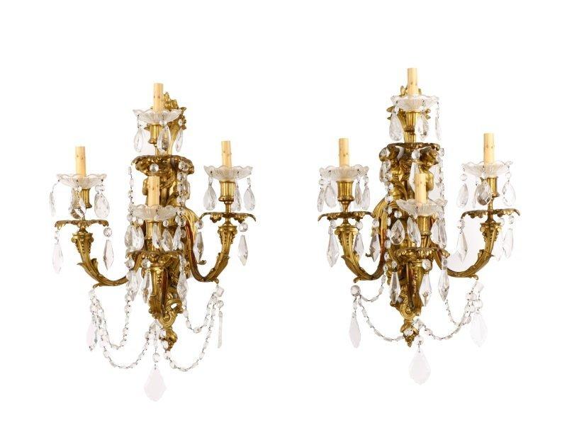 Pair, Gilt Bronze Neoclassical 4 Light Sconces