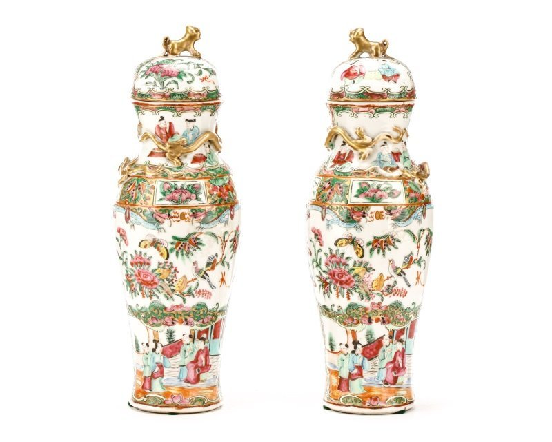 Pair, Chinese Rose Medallion Lidded Porcelain Jars