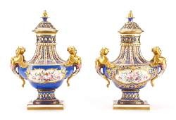Pair of French Polychrome Porcelain Pierced Urns