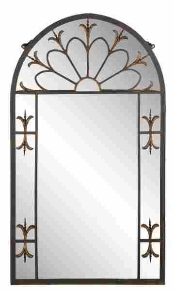 French Gothic Style Eglomise & Wrought Iron Mirror