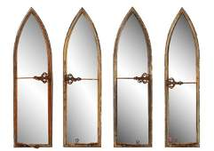 Set of Four French Gothic Arch Window Mirrors