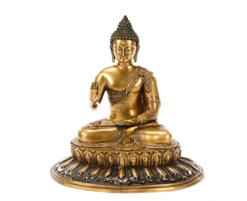 Large Qing Dynasty Gilt Bronze Gautama Buddha