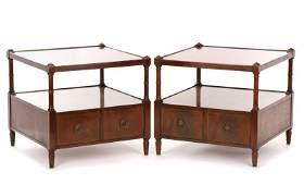 Pair of Regency Style 2-Tier End Tables, Baker