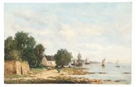 "Gérard Roux, ""Seaside Afternoon"", Oil On Wood"