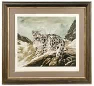 "Charles Fracé, ""Snow Leopard"", Lithograph"