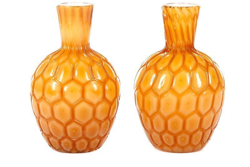 Pair English Victorian Cased Glass Pineapple Vases