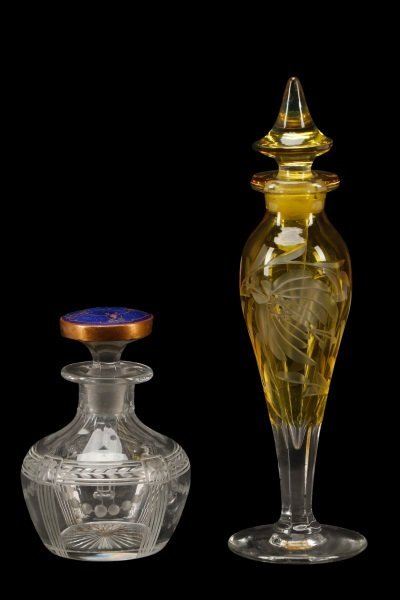 Two American Etched Glass Perfume Bottles, Heisey