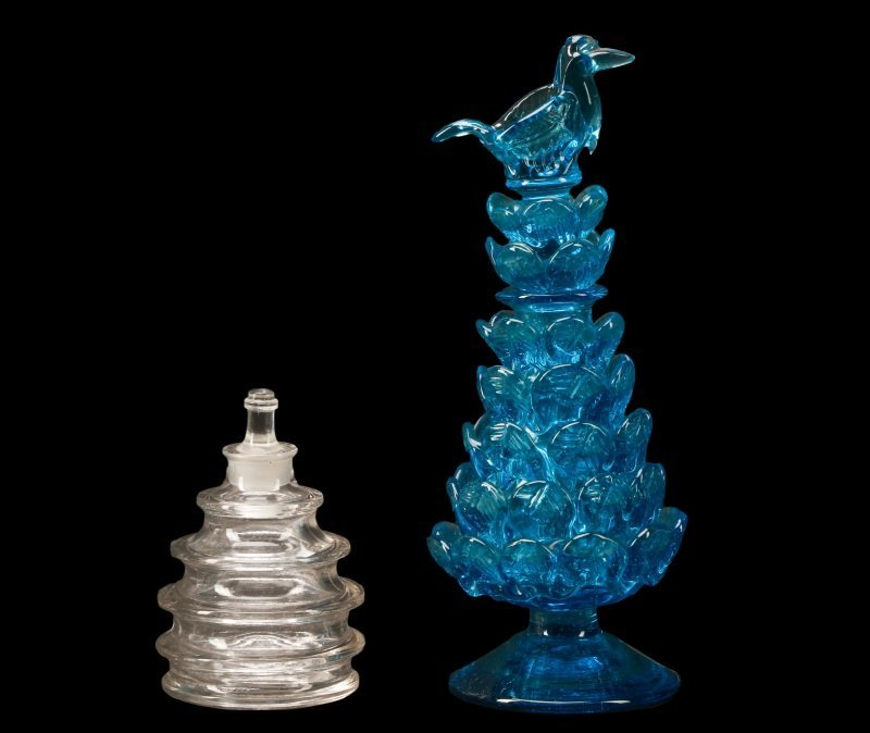 Two Continental Glass Perfume Bottles, Lalique