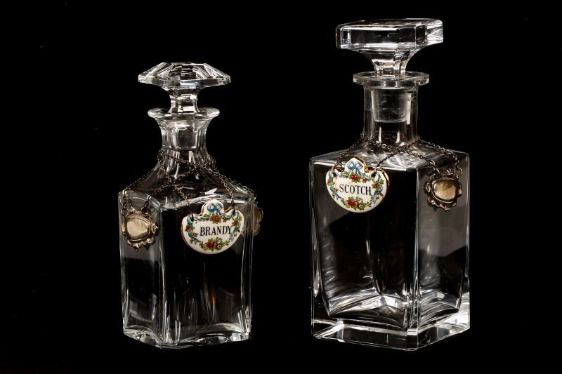 Two Decanters with Tags, Baccarat & Staffordshire