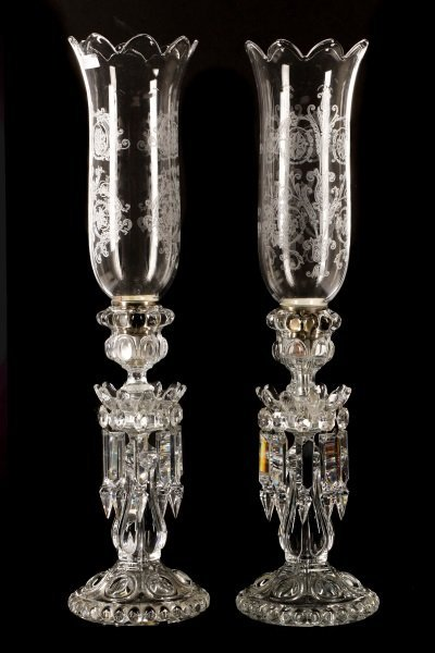 Pair of Baccarat Crystal Candle Lustres, Marked