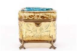 Amber Glass Enameled Salamander Box, Moser (attr)