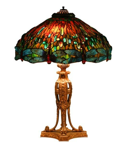 Hanging Head Dragonfly Table Lamp, After Tiffany