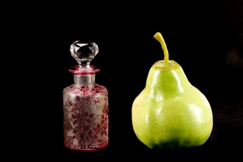 Baccarat Cameo Carved Cranberry Scent Bottle - 6