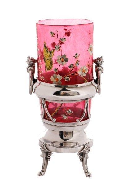 Victorian Silver & Cranberry Glass Celery Vase
