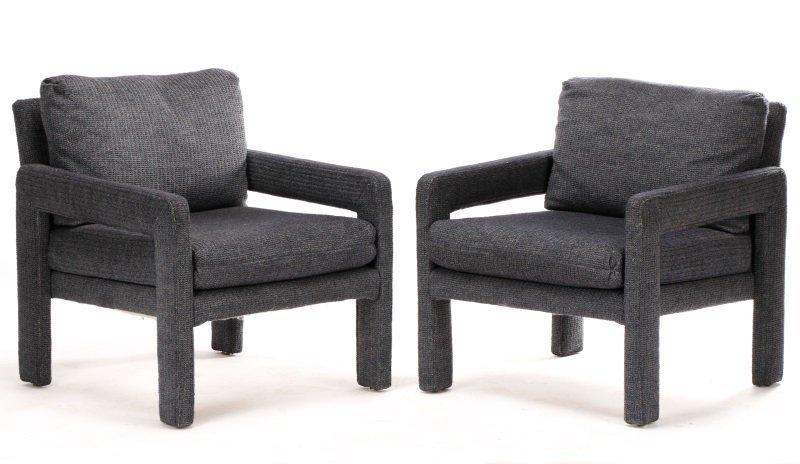 Pair Happy Viking Blue Tweed Upholstered Armchairs