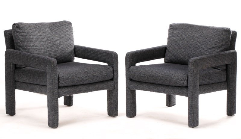 Pair Happy Viking Blue Tweed Upholstered Armchairs