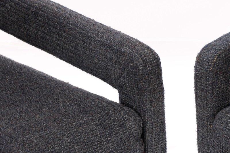 Pair Happy Viking Blue Tweed Upholstered Armchairs - 2
