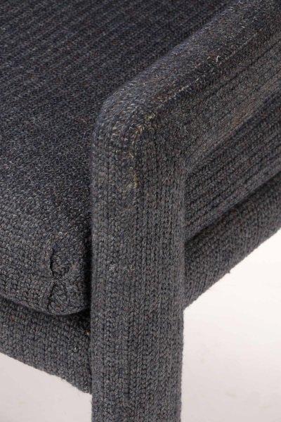 Pair Happy Viking Blue Tweed Upholstered Armchairs - 3