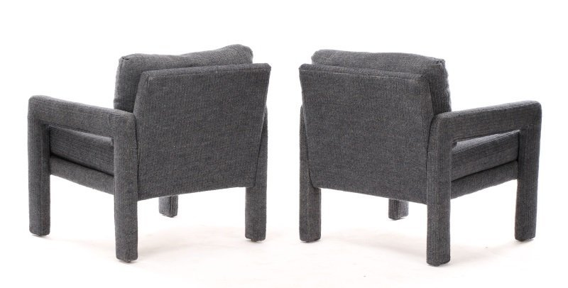 Pair Happy Viking Blue Tweed Upholstered Armchairs - 7