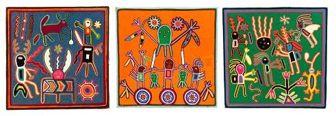 Three MultiColored Huichol Art Yarn Works on Wood