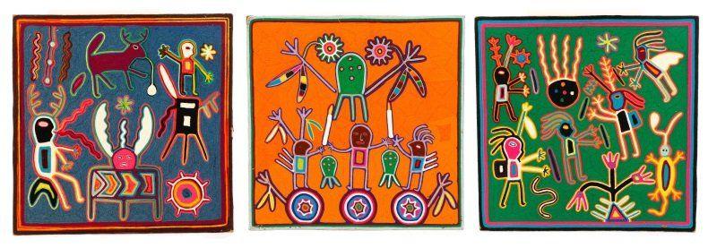 Three Multi-Colored Huichol Art Yarn Works on Wood