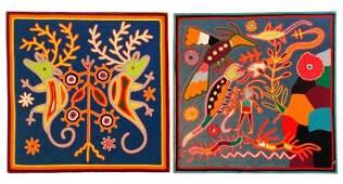 Two Deep Blue Huichol Art Yarn Works on Wood