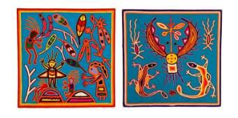 Two Bright Blue Huichol Art Yarn Works on Wood