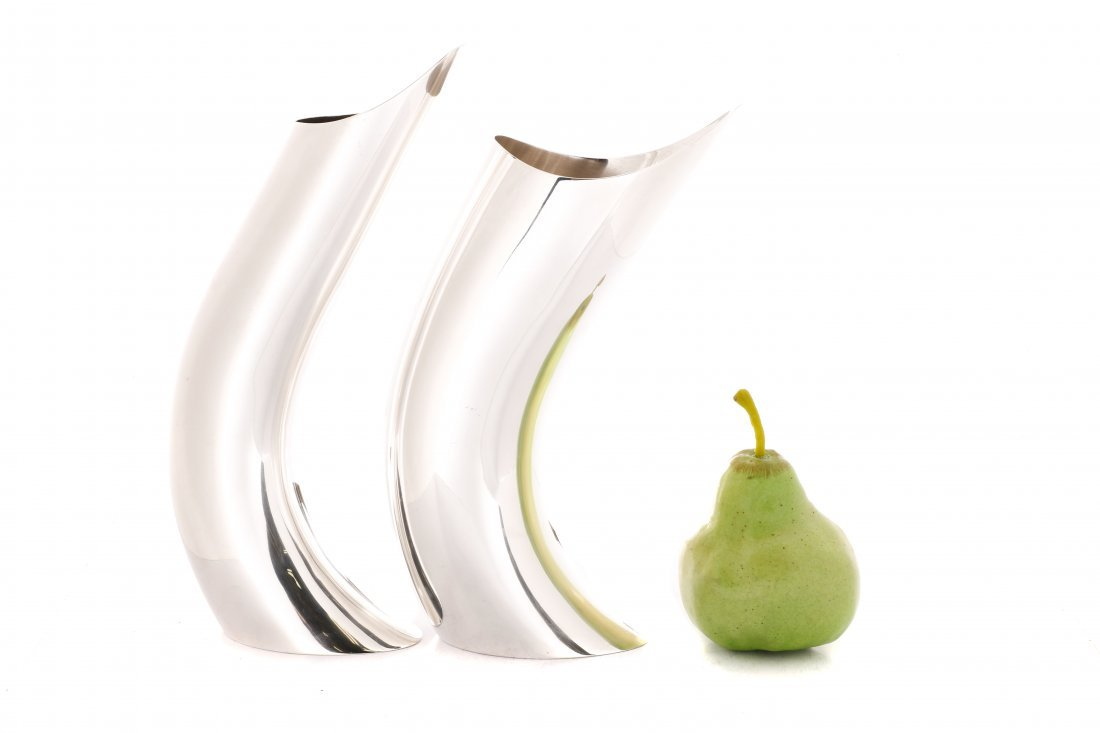 Italian Modernist Silver Plate Vases, Circa 1970 - 6