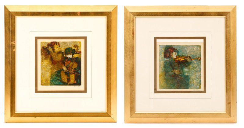 Group of Two Alvar Sunol Munoz-Ramos Lithographs