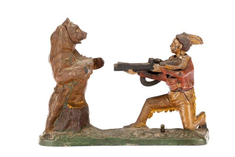 Native American & Bear Mechanical Coin Bank