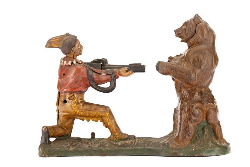 Native American & Bear Mechanical Coin Bank - 7