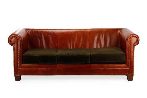 Lauren by Ralph Lauren Leather & Corduroy Sofa