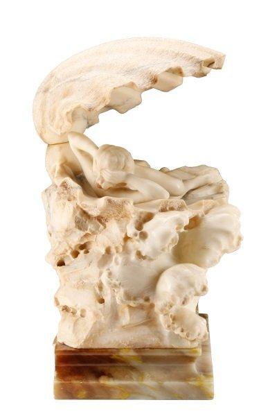 Art Nouveau Figural Carved Alabaster Lamp - 5