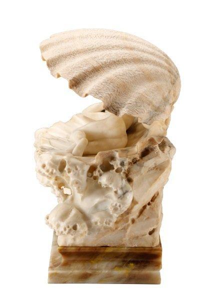 Art Nouveau Figural Carved Alabaster Lamp - 7