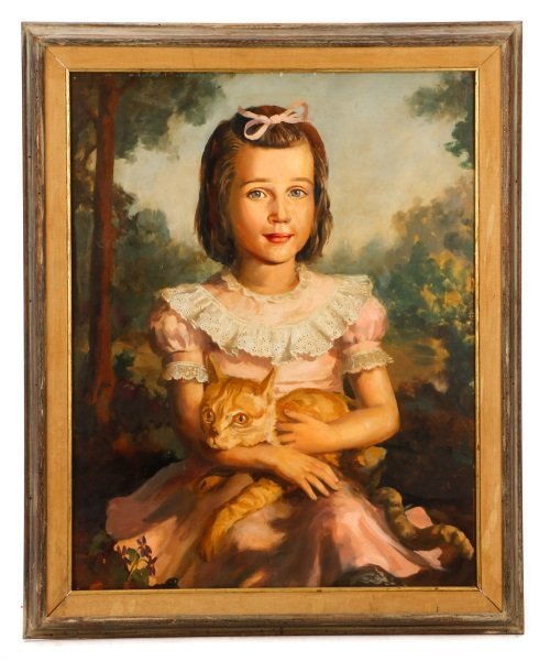 Litte Girl with Tabby Cat, Oil on Masonite